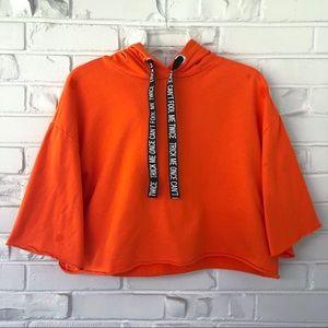 Divided Halloween Cropped Sweatshirt Size Medium